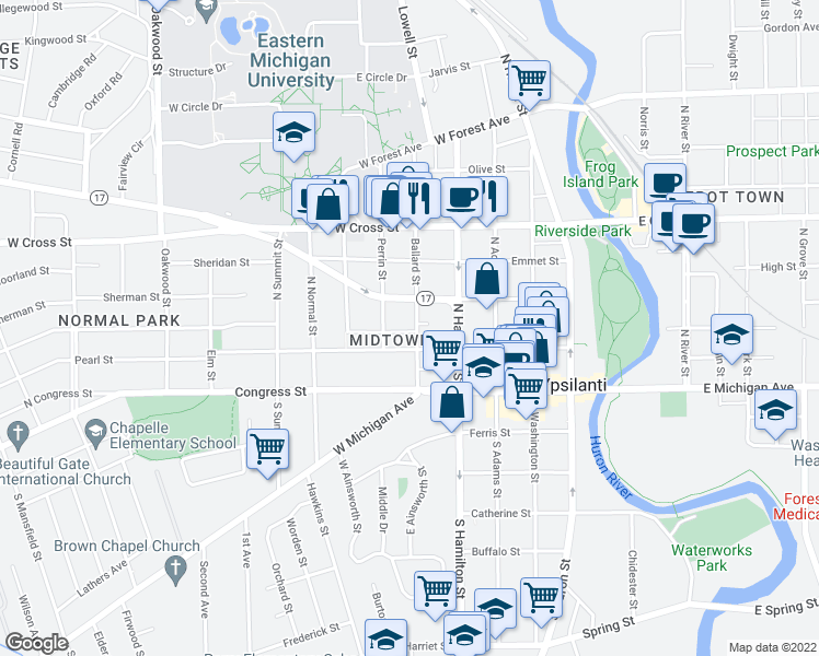 map of restaurants, bars, coffee shops, grocery stores, and more near 113 Ballard Street in Ypsilanti