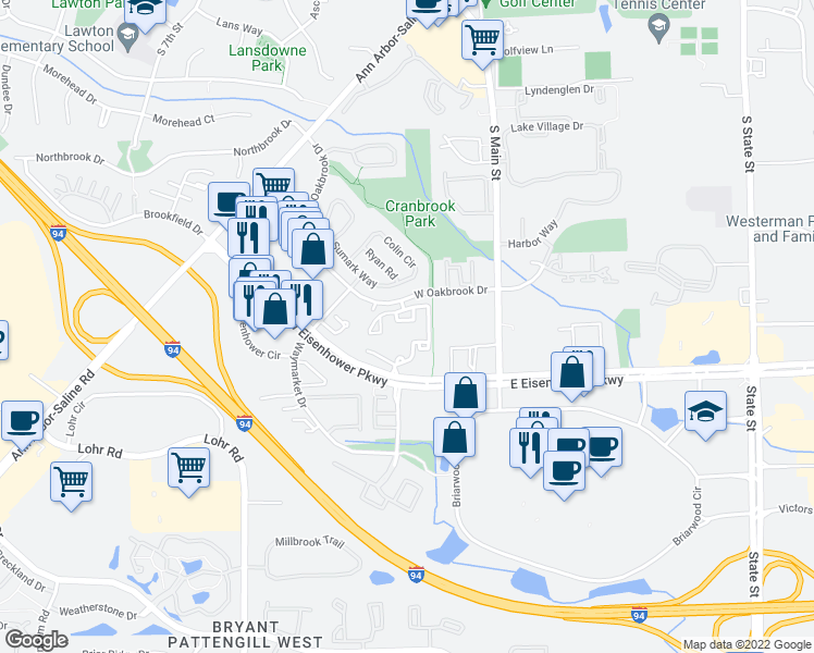 map of restaurants, bars, coffee shops, grocery stores, and more near 401 West Oakbrook Drive in Ann Arbor