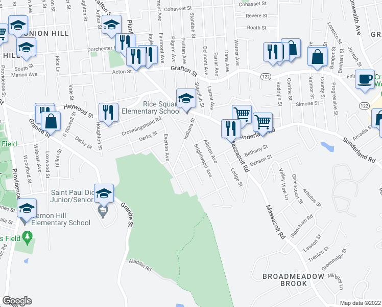 map of restaurants, bars, coffee shops, grocery stores, and more near 11 Camden Avenue in Worcester