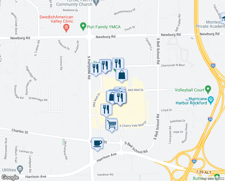map of restaurants, bars, coffee shops, grocery stores, and more near 7399 North Cherry Vale Mall Drive in Cherry Valley