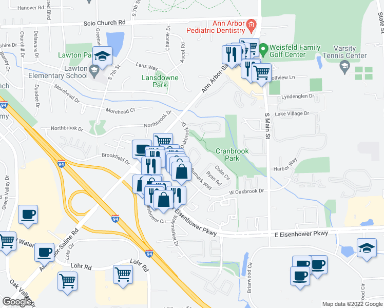 map of restaurants, bars, coffee shops, grocery stores, and more near 534 Galen Circle in Ann Arbor