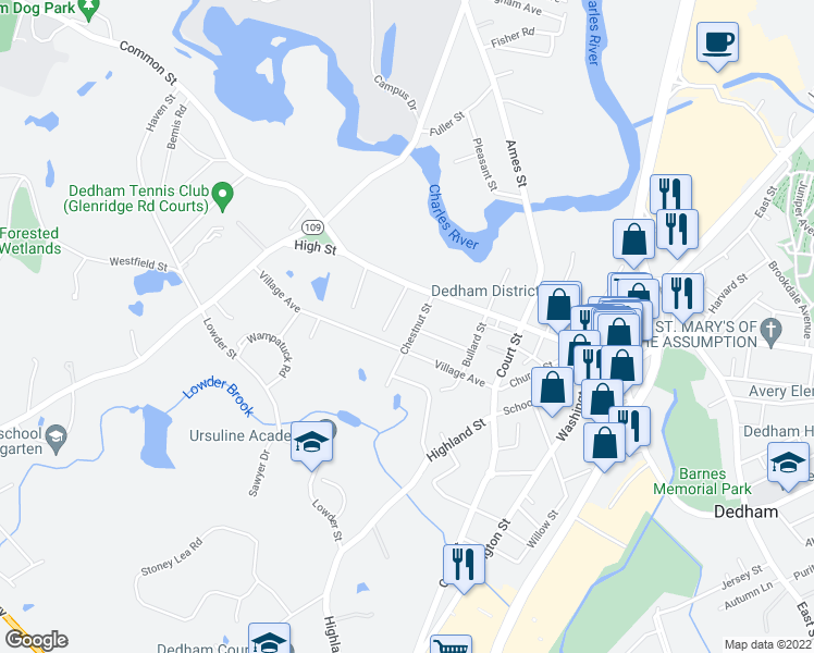 map of restaurants, bars, coffee shops, grocery stores, and more near 31 Chestnut Street in Dedham