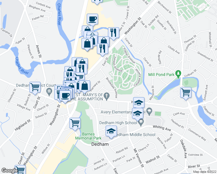 map of restaurants, bars, coffee shops, grocery stores, and more near 31 Allen Lane in Dedham