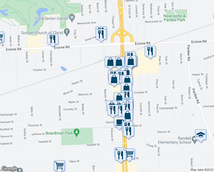 map of restaurants, bars, coffee shops, grocery stores, and more near 7865 Banner Street in Taylor
