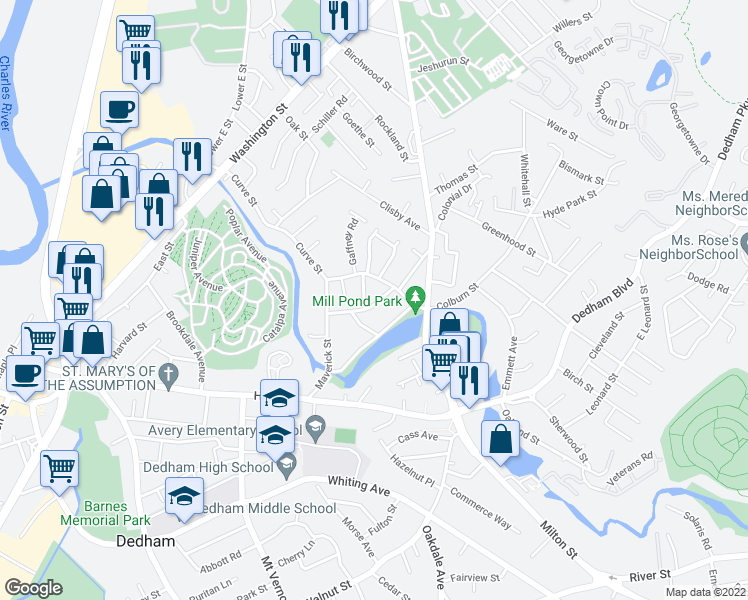 map of restaurants, bars, coffee shops, grocery stores, and more near 19 Waldo Street in Dedham