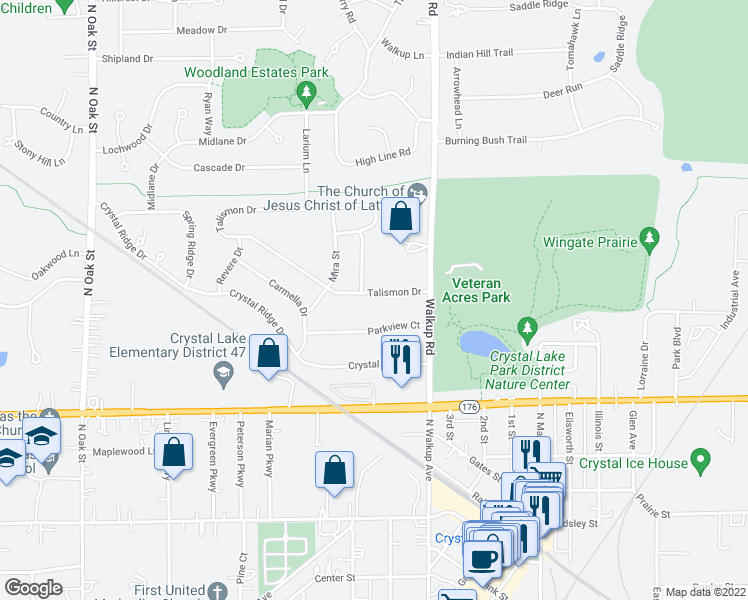 map of restaurants, bars, coffee shops, grocery stores, and more near 64 Talismon Drive in Crystal Lake