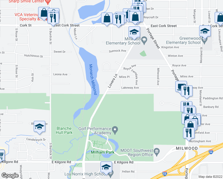 map of restaurants, bars, coffee shops, grocery stores, and more near 725 Lakeway Avenue in Kalamazoo