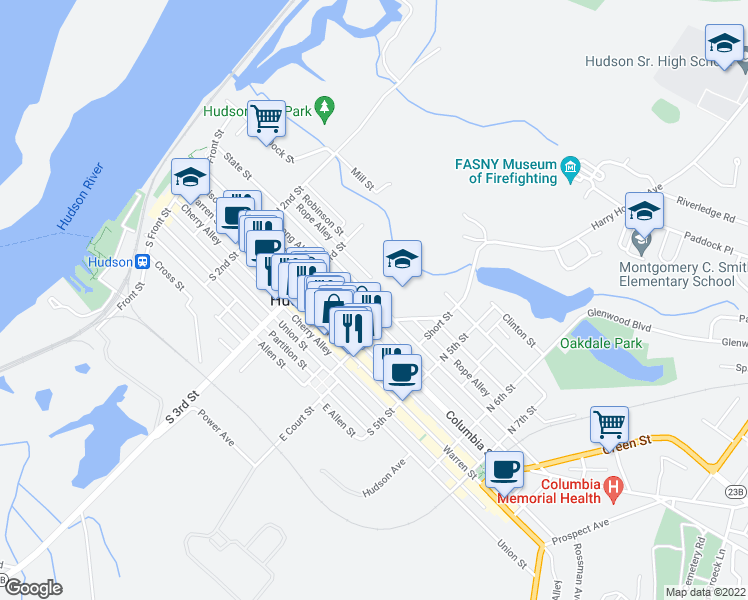 map of restaurants, bars, coffee shops, grocery stores, and more near 338 State Street in Hudson