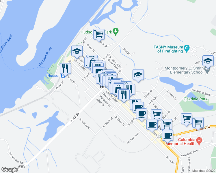 map of restaurants, bars, coffee shops, grocery stores, and more near in Hudson