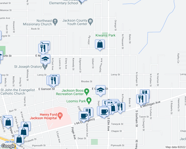 map of restaurants, bars, coffee shops, grocery stores, and more near Leroy Street in Jackson