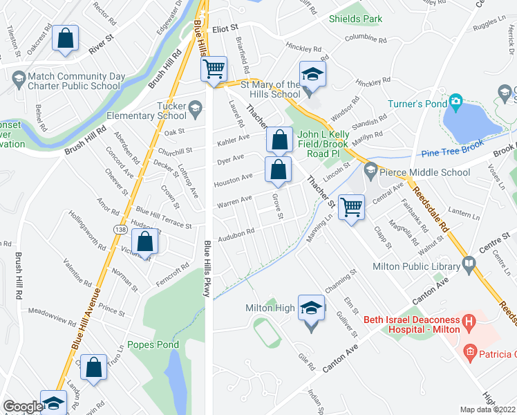map of restaurants, bars, coffee shops, grocery stores, and more near 23 Chilton Park in Milton