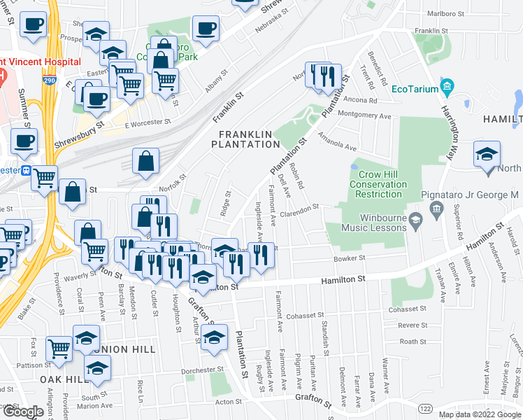 map of restaurants, bars, coffee shops, grocery stores, and more near 27 Ingleside Avenue in Worcester