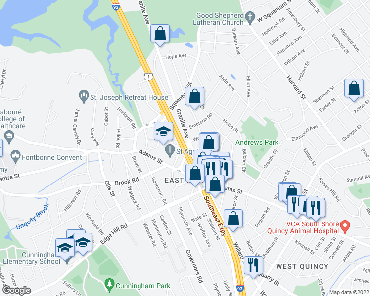 map of restaurants, bars, coffee shops, grocery stores, and more near Massachusetts 3 in Milton