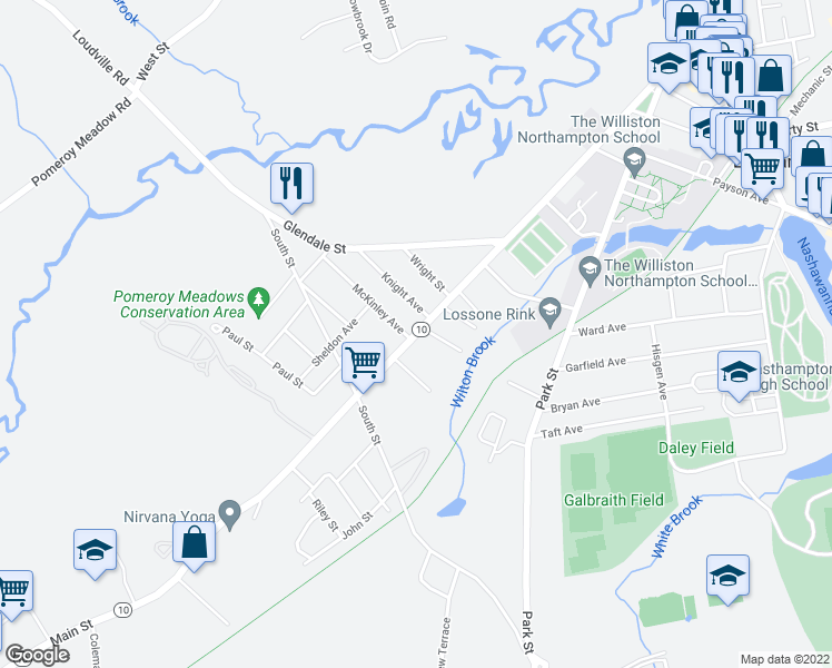 map of restaurants, bars, coffee shops, grocery stores, and more near Main Street in Easthampton