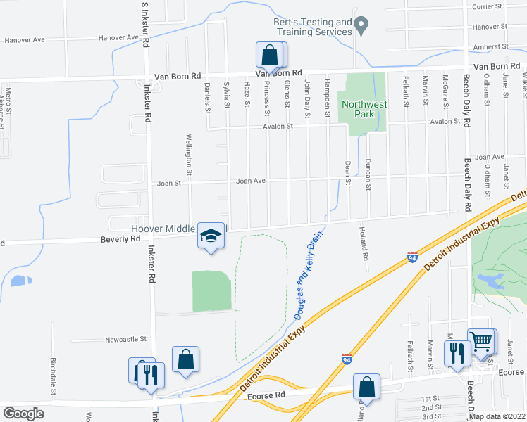 map of restaurants, bars, coffee shops, grocery stores, and more near 6384 Princess Street in Taylor