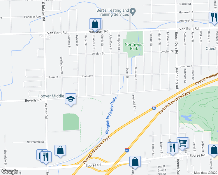 map of restaurants, bars, coffee shops, grocery stores, and more near 6374 John Daly Street in Taylor
