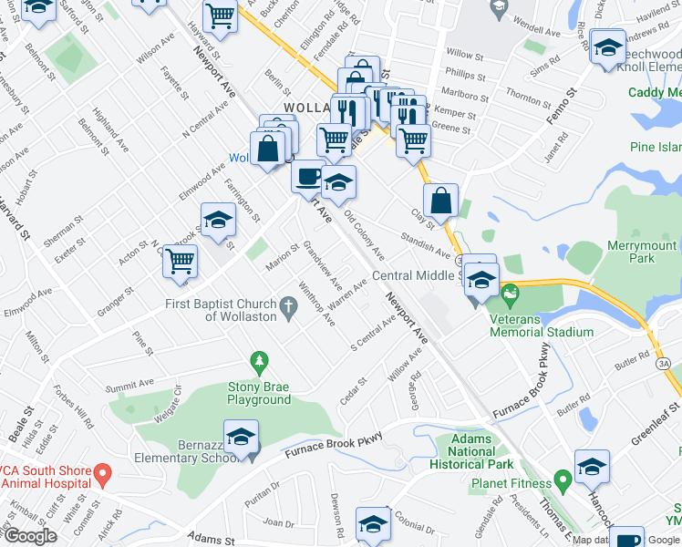 map of restaurants, bars, coffee shops, grocery stores, and more near 100 Grandview Avenue in Quincy