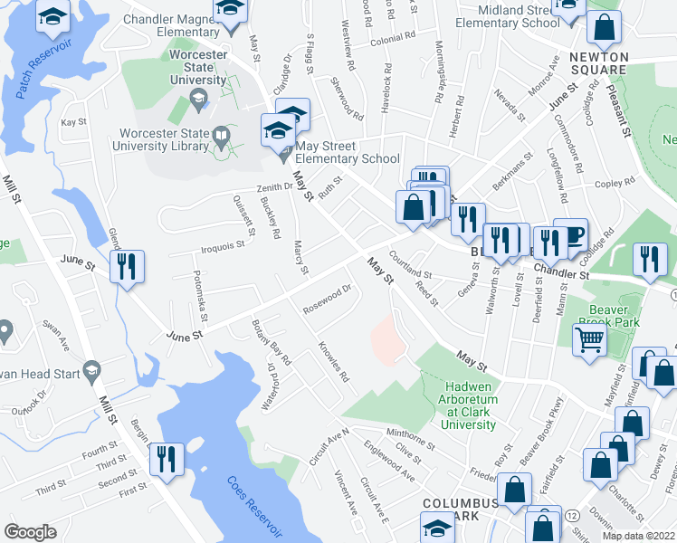 map of restaurants, bars, coffee shops, grocery stores, and more near 168 June Street in Worcester