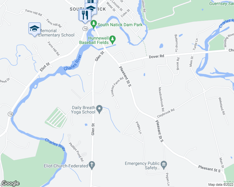 map of restaurants, bars, coffee shops, grocery stores, and more near 7 Lookout Farm Road in Natick
