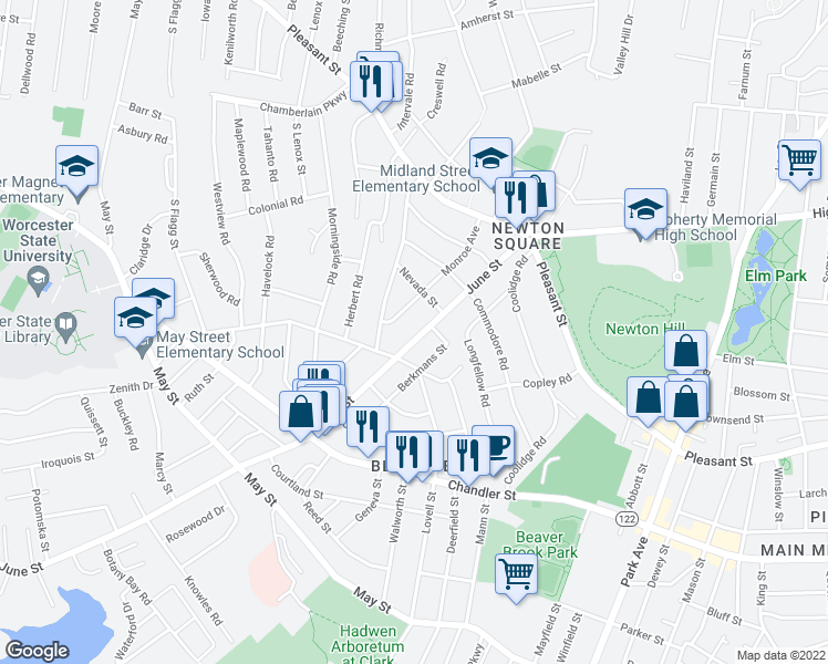 map of restaurants, bars, coffee shops, grocery stores, and more near 61 June Street in Worcester