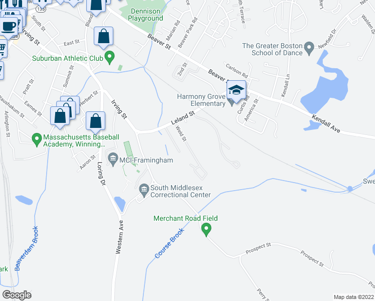 map of restaurants, bars, coffee shops, grocery stores, and more near 11 Weld Street in Framingham