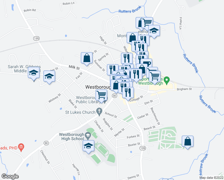 map of restaurants, bars, coffee shops, grocery stores, and more near 28R Milk Street in Westborough