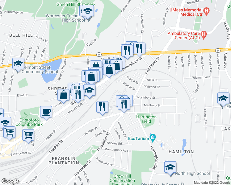 map of restaurants, bars, coffee shops, grocery stores, and more near 57 Atlanta Street in Worcester