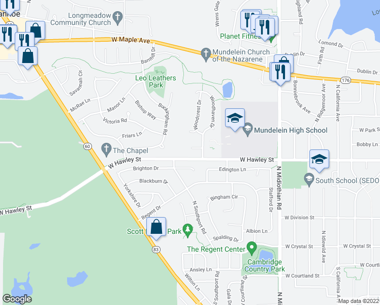 map of restaurants, bars, coffee shops, grocery stores, and more near 1617 Woodhaven Court in Mundelein