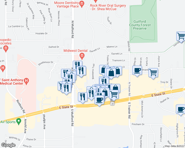map of restaurants, bars, coffee shops, grocery stores, and more near 408 Bienterra Trail in Rockford