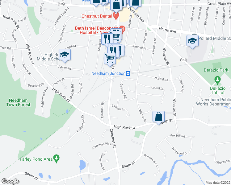 map of restaurants, bars, coffee shops, grocery stores, and more near 476 Chestnut Street in Needham
