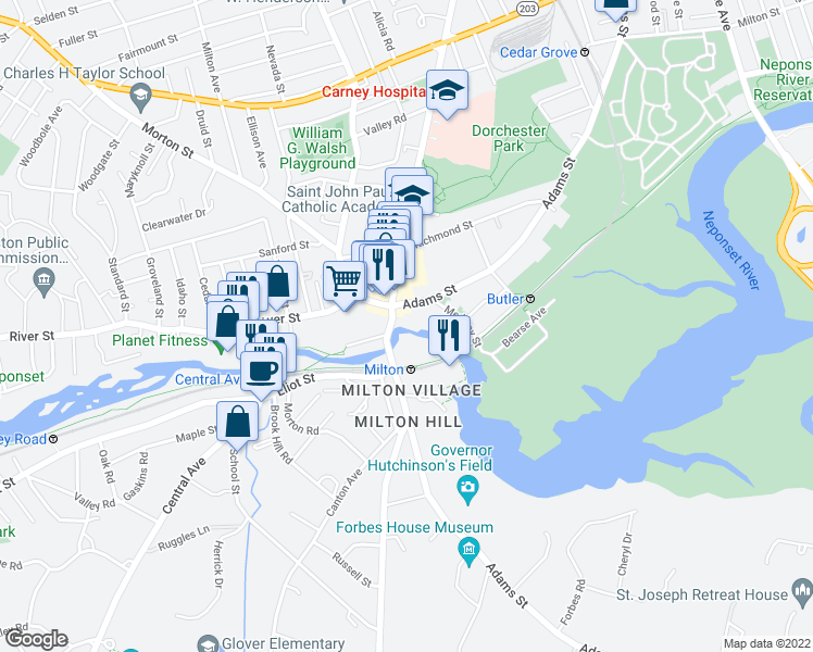map of restaurants, bars, coffee shops, grocery stores, and more near 1230 Adams Street in Boston