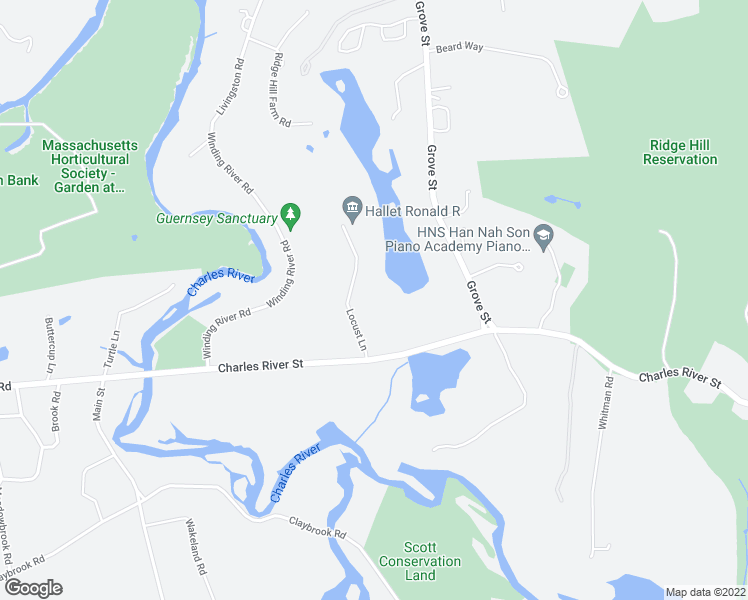 map of restaurants, bars, coffee shops, grocery stores, and more near 689 Charles River Street in Needham