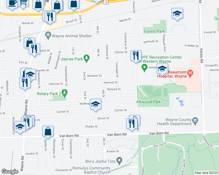 map of restaurants, bars, coffee shops, grocery stores, and more near 34280 Richard St in Wayne
