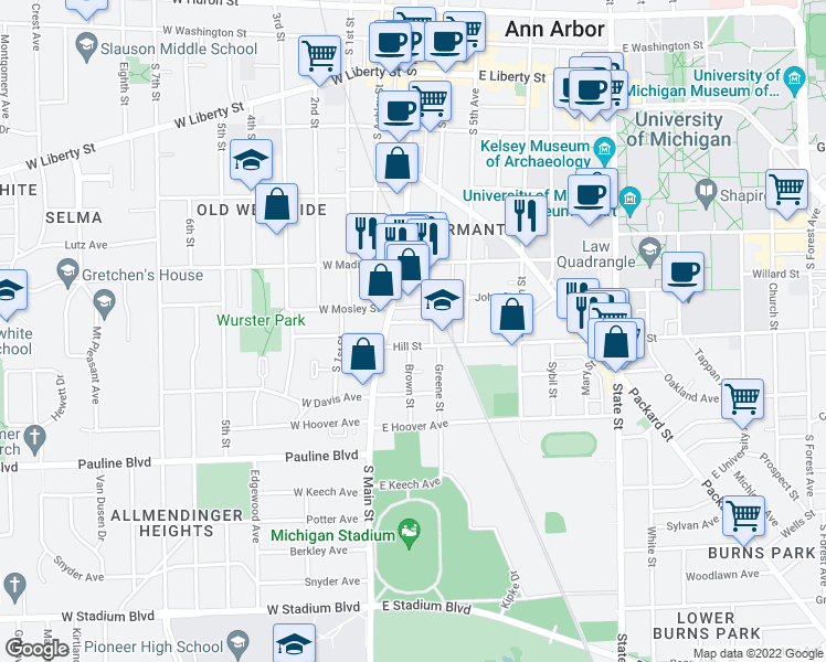 map of restaurants, bars, coffee shops, grocery stores, and more near 125 Hill Street in Ann Arbor