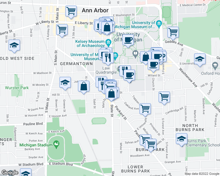 map of restaurants, bars, coffee shops, grocery stores, and more near 726 South State Street in Ann Arbor