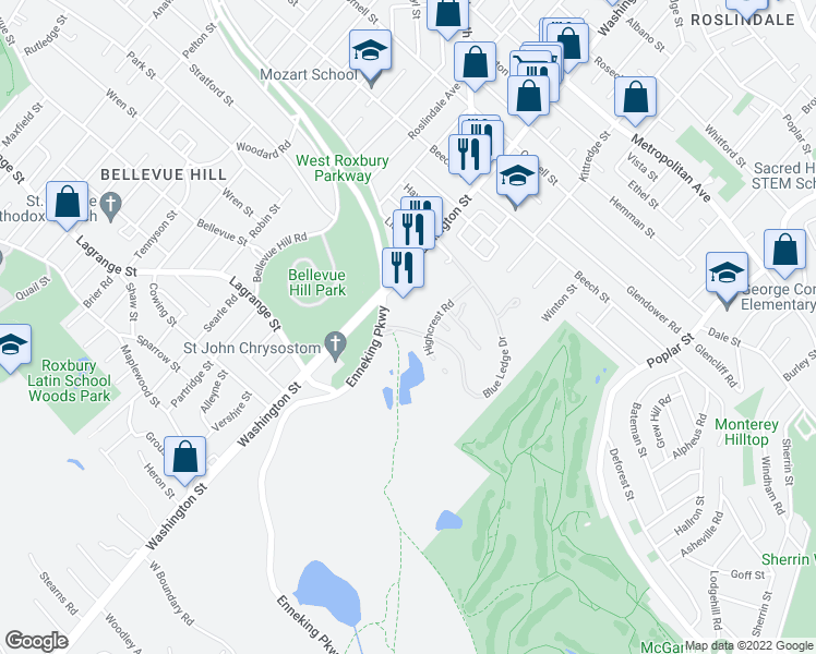 map of restaurants, bars, coffee shops, grocery stores, and more near 375 Blue Ledge Drive in Boston