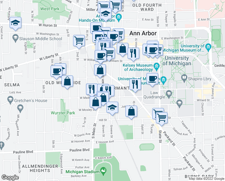 map of restaurants, bars, coffee shops, grocery stores, and more near 541 South 4th Avenue in Ann Arbor