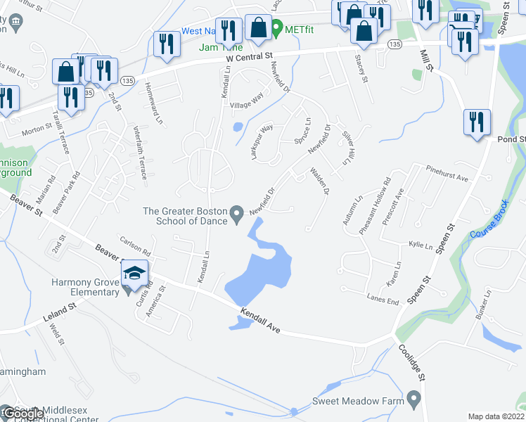 map of restaurants, bars, coffee shops, grocery stores, and more near 35 West Central Street in Natick