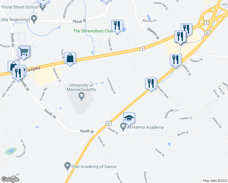 map of restaurants, bars, coffee shops, grocery stores, and more near 51 Commons Drive in Shrewsbury
