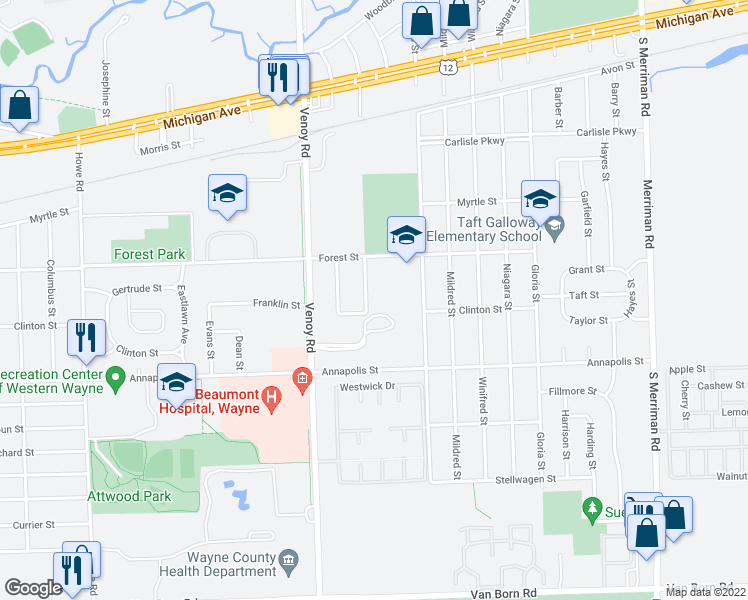 map of restaurants, bars, coffee shops, grocery stores, and more near 4215 Cadillac Avenue in Wayne