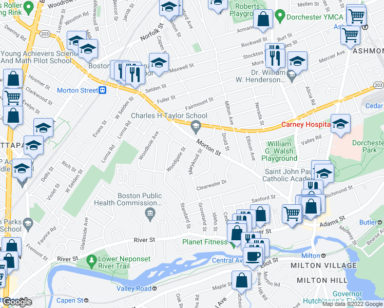 map of restaurants, bars, coffee shops, grocery stores, and more near 76 Verndale Street in Boston