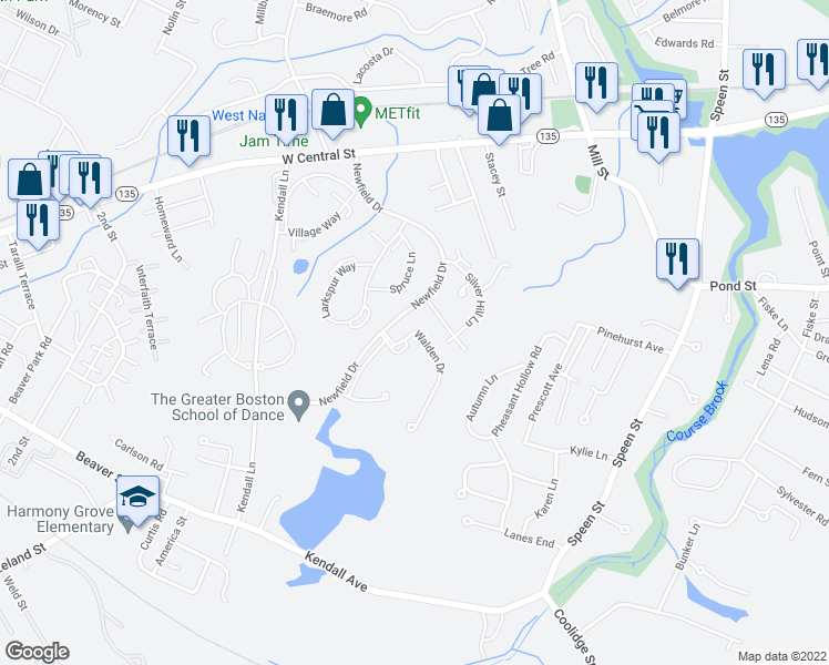 map of restaurants, bars, coffee shops, grocery stores, and more near 34 Walden Drive in Natick