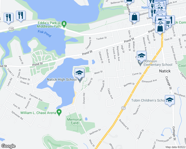 map of restaurants, bars, coffee shops, grocery stores, and more near Campus Drive in Natick