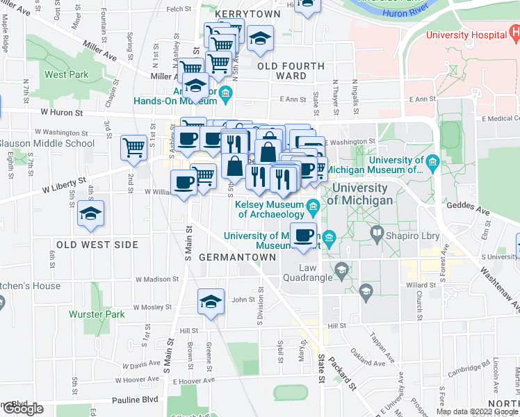 map of restaurants, bars, coffee shops, grocery stores, and more near 414 South Division Street in Ann Arbor
