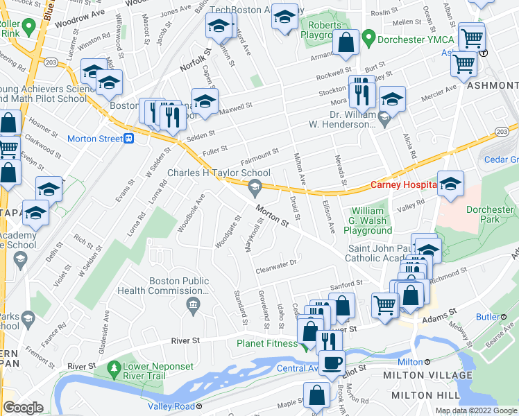 map of restaurants, bars, coffee shops, grocery stores, and more near 1-99 Pine Ridge Road in Boston