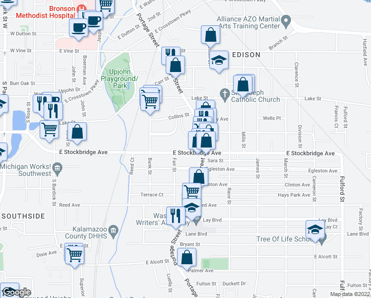 map of restaurants, bars, coffee shops, grocery stores, and more near 721 East Stockbridge Avenue in Kalamazoo