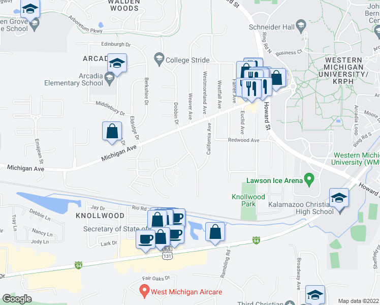 map of restaurants, bars, coffee shops, grocery stores, and more near Fraternity Village Dr & Michigamme Woods Dr in Kalamazoo