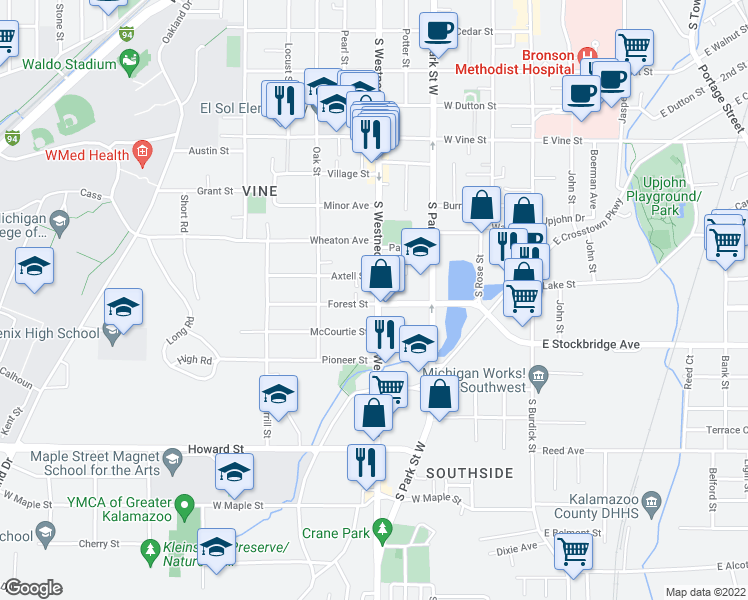 map of restaurants, bars, coffee shops, grocery stores, and more near 1224 South Westnedge Avenue in Kalamazoo