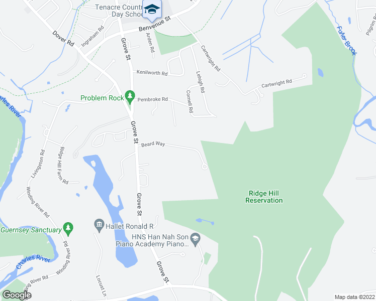 map of restaurants, bars, coffee shops, grocery stores, and more near 115 Beard Way in Needham