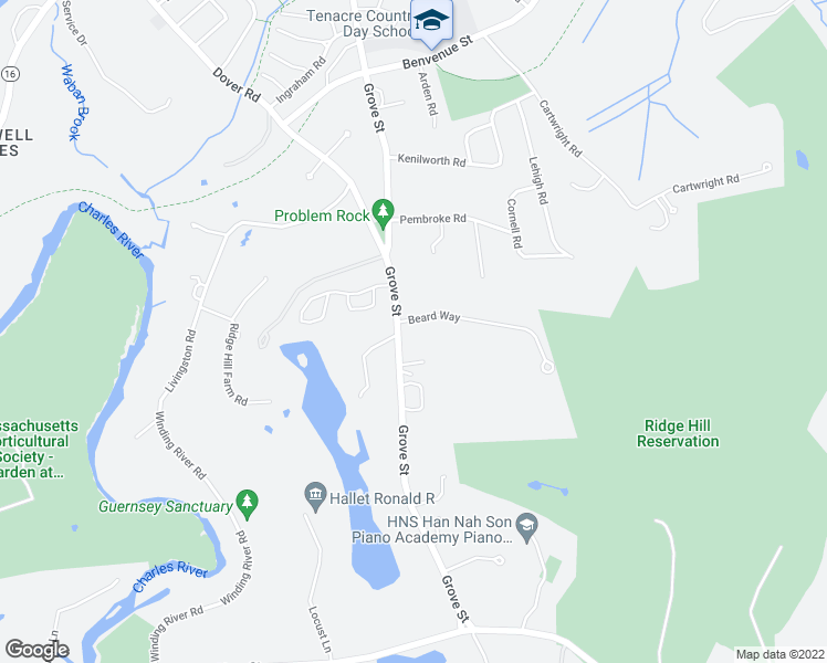map of restaurants, bars, coffee shops, grocery stores, and more near 1 Beard Way in Wellesley